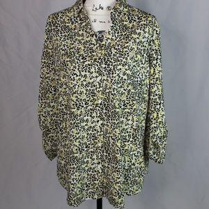 Talbots Woman Plus 18 Leopard Print Top Yellow